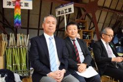 県立津山工業高校剣道場で練習